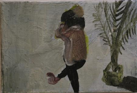 Bytové divadlo Šárky Zadákové - Jackson III, 10 x 18 cm, akryl na plátně, 2011