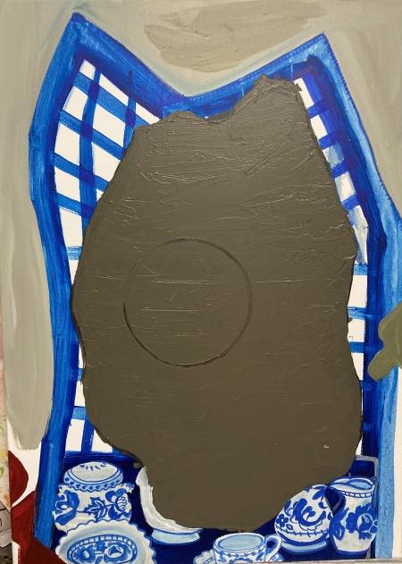 Distanční výuka III, 100 x 70 cm, akryl na plátně, 2021