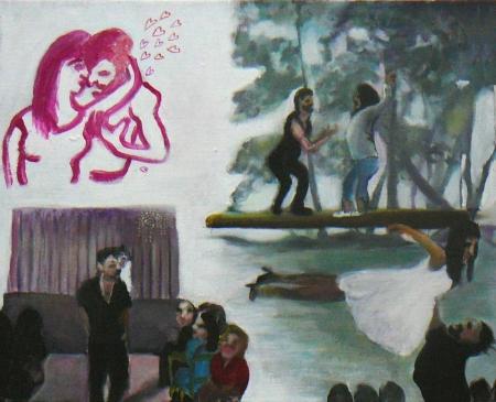 Hříšný tanec (Z cyklu Otrok),  x  cm, akryl na plátnš, 2007