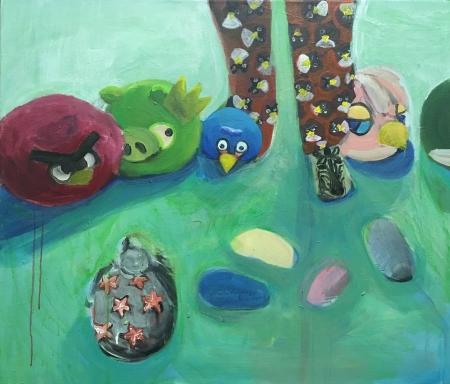 Angry birds,  x  cm, akryl na plátně