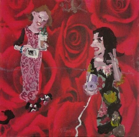 Kuže na skále, 20 x 20 cm, akryl na plátně, 2007
