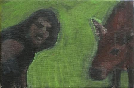 Já, kráva, 13 x 18 cm, akryl na plátně