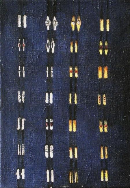Prstýnky, 30 x 18 cm, akryl na plátně, 2004