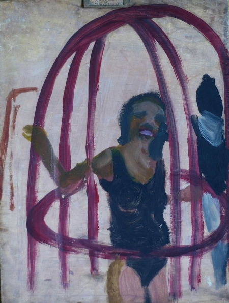 Průlezka, 40 x 25 cm, akryl na dřevě, 2009