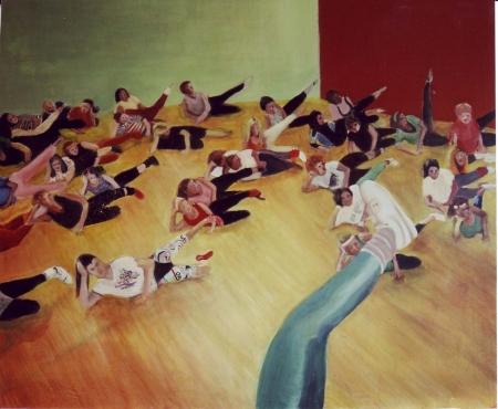 Cvičenky, 130 x 150 cm, akryl na plátně, 2003