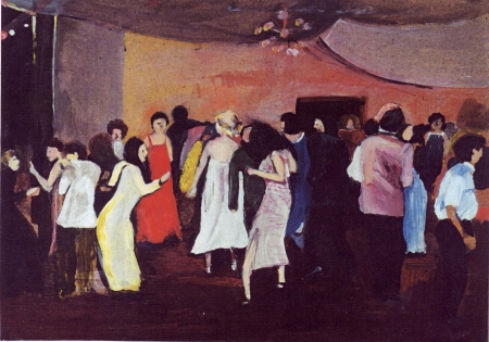 Maturitní ples, 50 x 70 cm, akryl na sololitu, 2003, soukromá sbírka