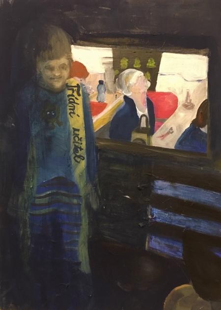 Třídní učitel, 70 x 50 cm, akryl na plátně, 2017
